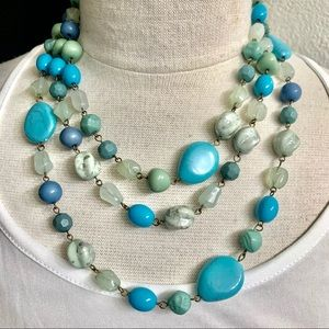 Faux Turquoise Bead Necklace
